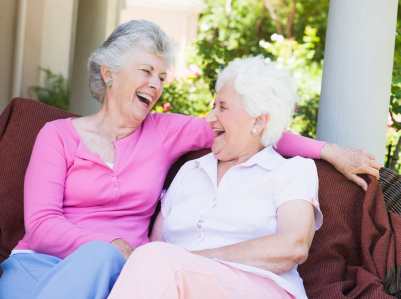 Senior female friends laughing together